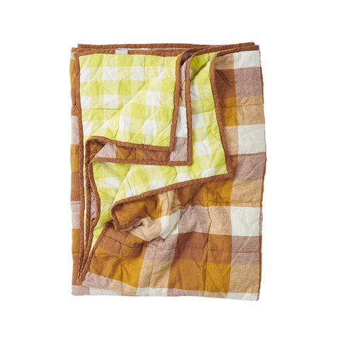 Biscuit Check, limoncello gingham by Society of Wanderers.