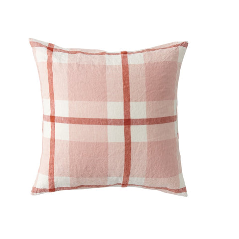 Floss Pink Check Cushion + Inner by Society of Wanderers