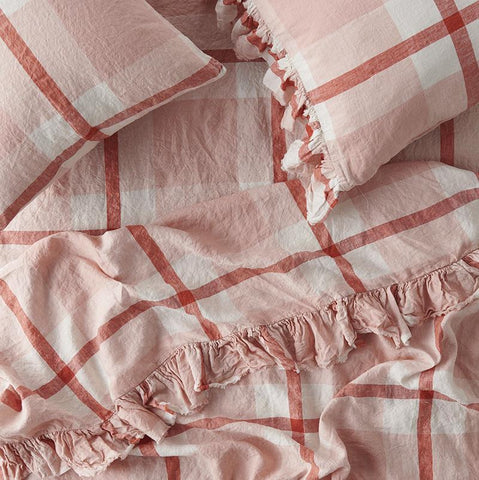 Floss Pink Check Sheets by Society of Wanderers