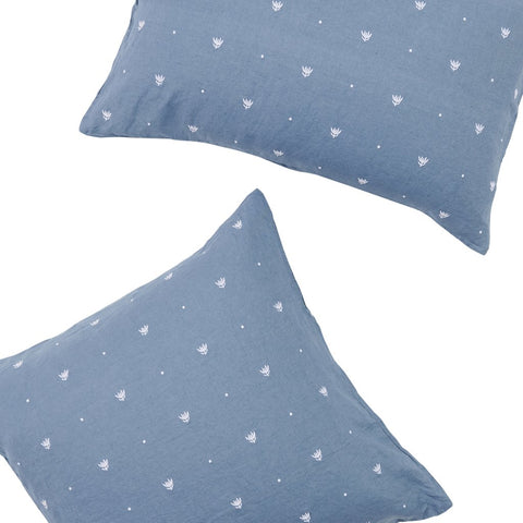 Society of Wanderers - Linen Pillowcase Set | Embroidered Moody Blue