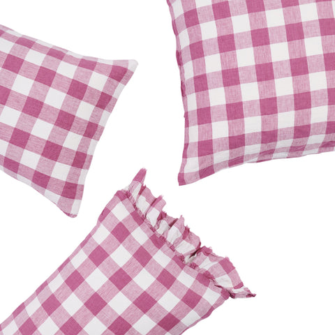 Society of Wanderers - Linen Pillowcase Set | Pink Gingham