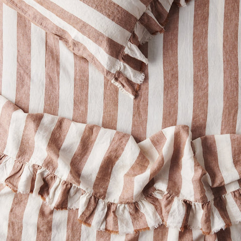 Society of Wanderers - Linen Ruffle Flat Sheet | Tobacco Stripe