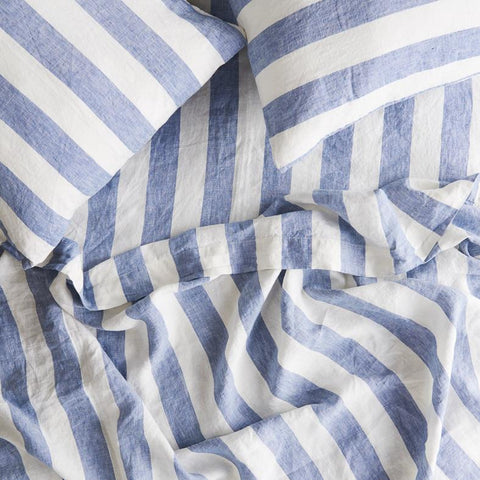 Society of Wanderers - Linen Ruffle Flat Sheet | Chambray Stripe