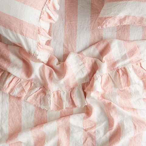 Society of Wanderers - Linen Ruffle Flat Sheet | Blush Stripe