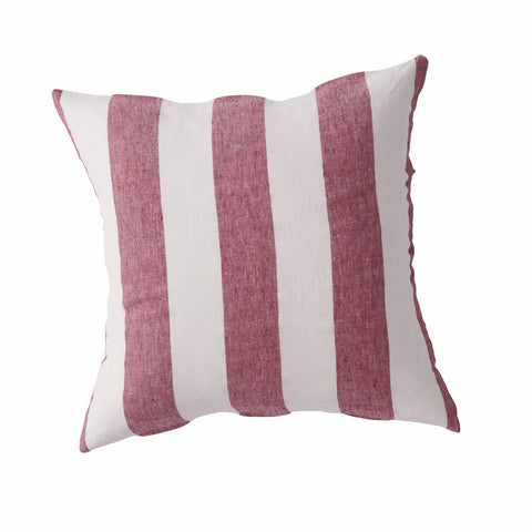 Society of Wanderers - Linen Cushion | Sangria Stripe