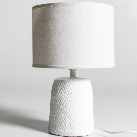 white cane woven concrete lamp at unearthed homewares