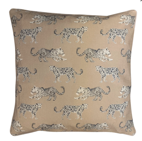 on the prowl leopard neutral cushion cover at Unearthed Homewares
