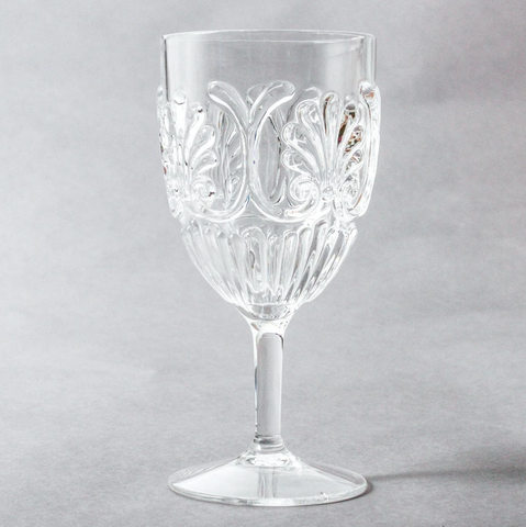 Acrylic wine glasses in clear from Unearthed Homewares