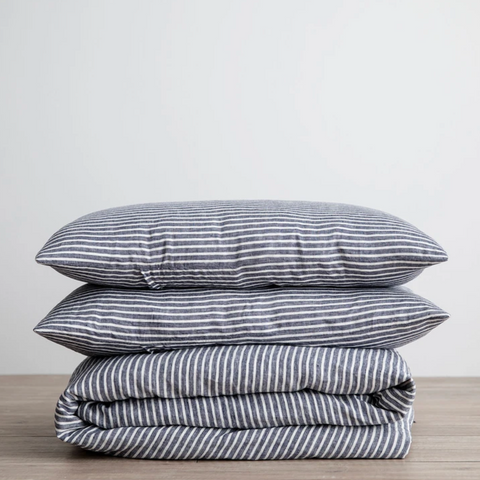 Indigo Stripe Duvet Cover Set by Cultiver at Unearthed Homewares