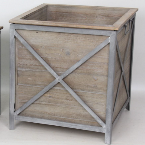 metal and timber Hamptons style planter boxes at Unearthed Homewares