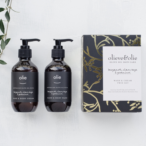 Olieve and Olie hand wash and body cream set, avail at Unearthed Homewares.