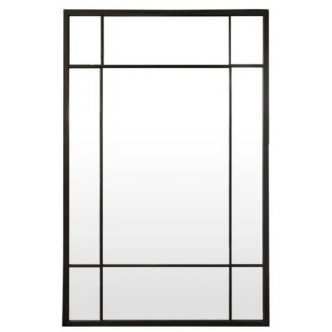 Mirror | Black Rectangle Iron Grid