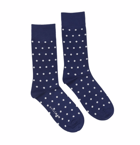 ORTC - Mens Socks | Navy & White Polka