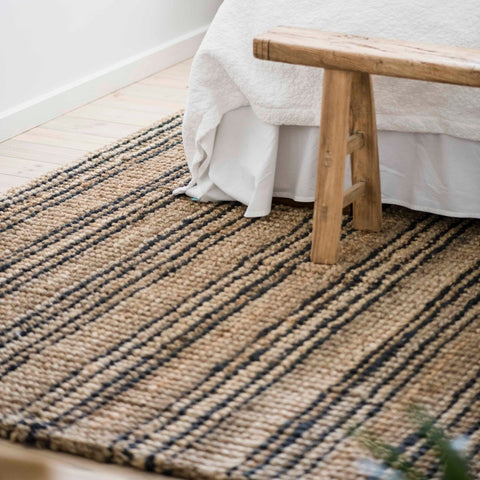 Jute Rugs + Runners  | Natural + Graphite Stripe || Smith Stripe