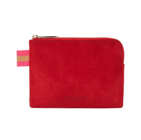paige coin purse in cherry red suede by arlington milne at Unearthed Homewares