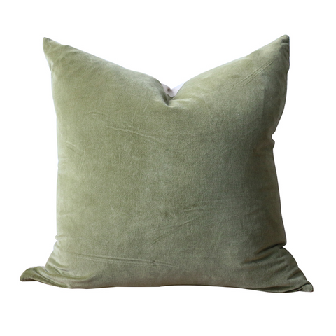 Raphael Sage Green Cushion Cover | Velvet + Linen