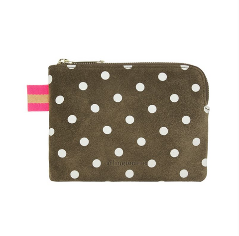 Arlington Milne - Paige Leather Coin Purse | Khaki Spot