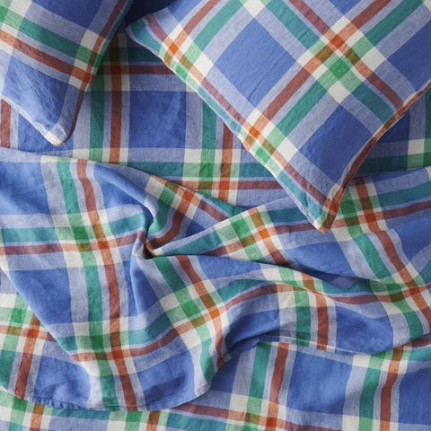 Society of Wanderers - Linen Flat Sheet | Cornflower Check