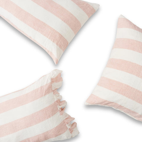 Society of Wanderers - Linen Ruffle Pillowcase Set | Blush Stripe