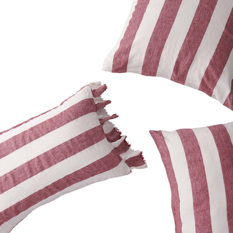 Society of Wanderers - Linen Pillowcase Set | Sangria Stripe