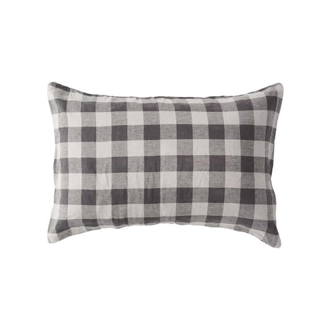 Society of Wanderers - Linen Pillowcase Set | Licorice Gingham