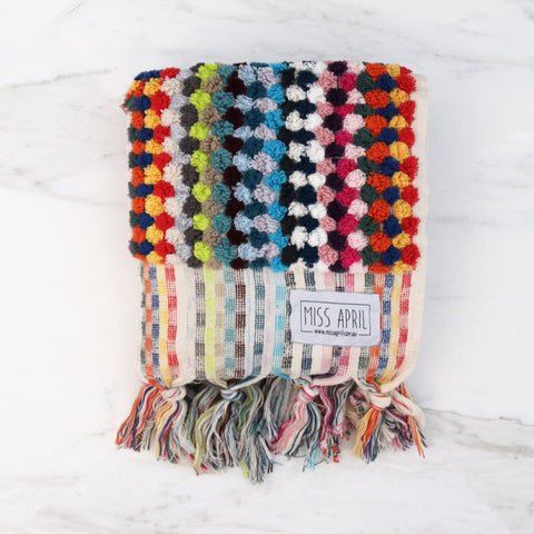 Miss April Multi Coloured Pom Pom Hand towel