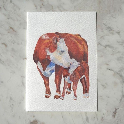 Hereford Cow and Calf Card by Carina Chambers at Unearthed Homewares