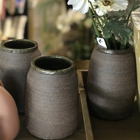 Handmade local pottery vase , kitchen utensil holder by Rebecca Dowling at Unearthed Homewares