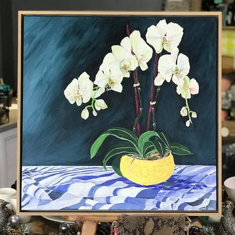 """White Orchids on the Dining Table"" by Inel Date"