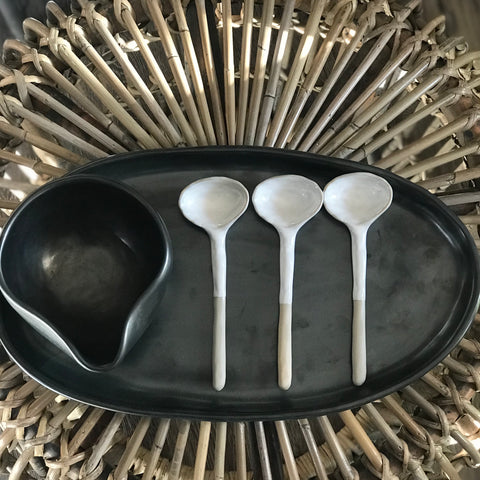 ceramic serving spoon + batch ceramics pouring bowl