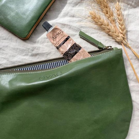 Ovae New Moon CLutch in Olive at Unearthed Homewares