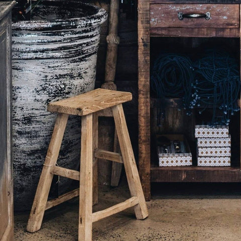 Antique workers timber stool @ unearthed homewares