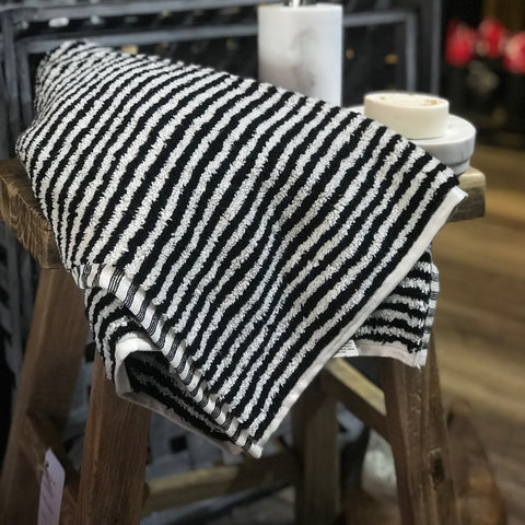 Miss April - Albatross black and White Stripe bath mat - Unearthed Homewares