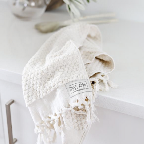 Miss April Pom Pom Hand Towel in natural off White