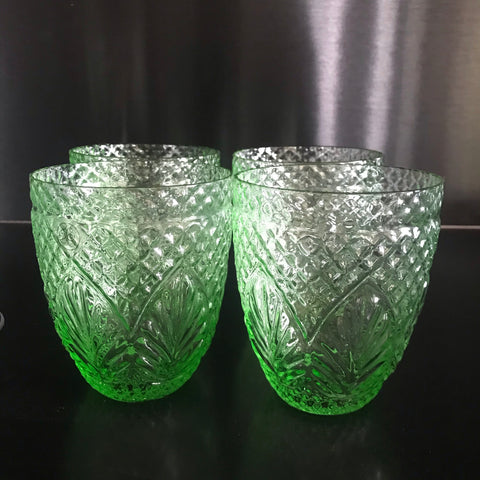 French Country Water glasses  - Vintage Green