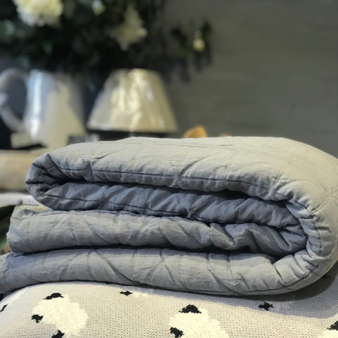 Quilted Cotton + Sheepskin Throw Charcoal at Unearthed homewares