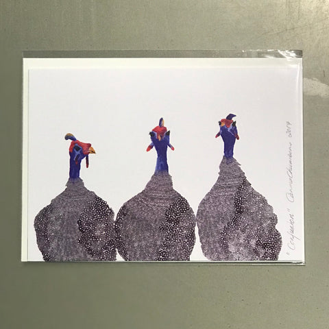 Guinea Fowl cards by Carina Chambers at Unearthed Homewares