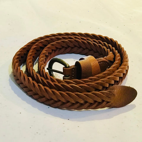 Woven Leather Belt in Tan at Unearthed Homewares