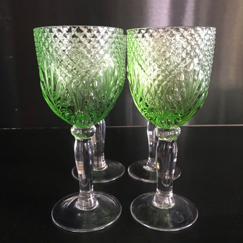 French Country Wine Glasses - Vintage Green