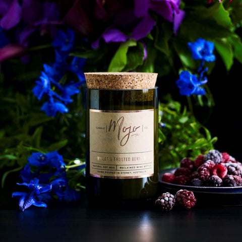 violet and frosted berries recycled wine bottle candle by Mojo Candle Co at Unearthed Homewares