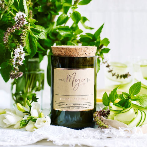 wild basil and cucumber wine bottle candle by Mojo Candle Co, at Unearthed Homewares