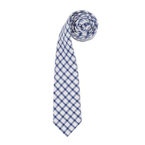 Walter blue and whie check mens tie by ORTC at Unearthed Homewares