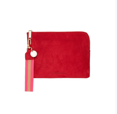 paige clutch in cherry suede w wristlet by arlington milne at Unearthed Homewares
