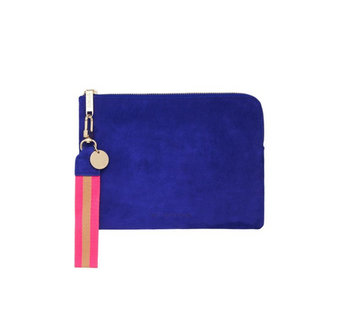 paige clutch with wristlet in cobalt suede at Unearthed Homewares