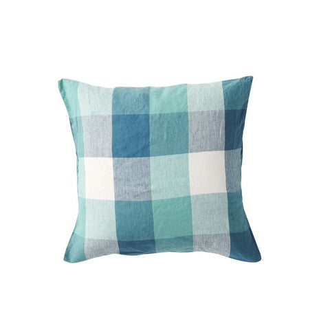 Society of Wanderers - Linen Cushion | Peacock Check - PREORDER