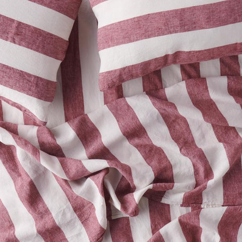 Sangria stripe ruffle flat sheet by Society of Wanderers @ Unearthed Homewares