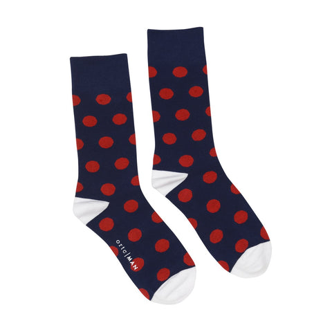 ORTC - Mens Socks | Navy w Red Spots