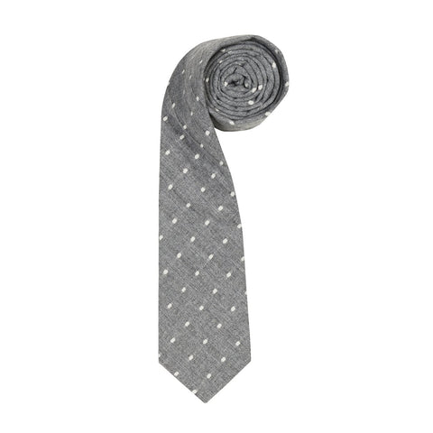 ORTC - Cotton/Linen Tie | Charcoal Polka