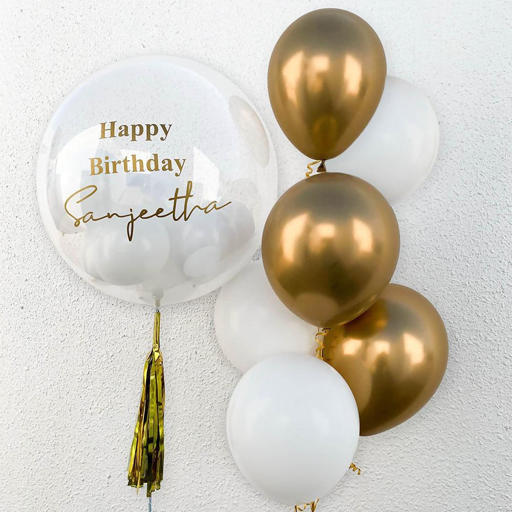 Personalized Bubble Balloon with Gold and white Balloon.