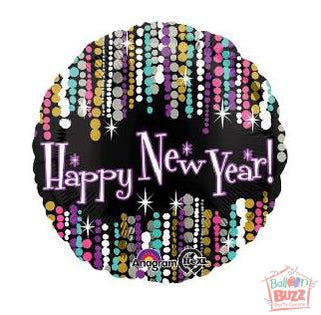 HNY 17-inch Pizzazz Foil Balloon